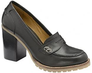 Ravel Womens Colby Black Leather Stack Heeled Loafer Shoes